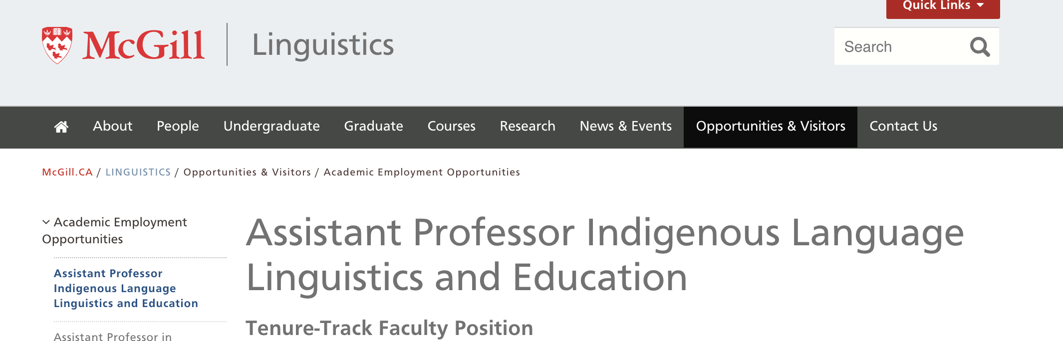 Assistant Professor Position In Indigenous Language Linguistics And